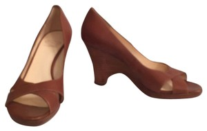 Joan & David Leather Pumps Open Toe Brown Wedges