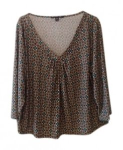 Briggs Patterned Stretch Fabric 3/4 Length Sleeve Gathered Bust Top Brown