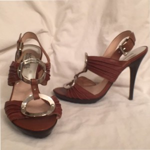 Michael Kors Leather Strappy Brown Platforms