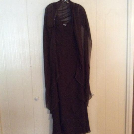 Chocolate Brown Polyester Formal Bridesmaid/Mob Dress Size 10 (M)