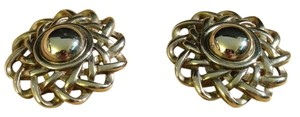 Givenchy Vintage 1970s Silver Tone Spiral Petals Blooming Flower Power Large Clip On Back Givenchy Designer Earrings