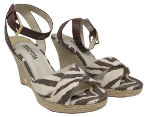 Michael Kors brown and off white Wedges