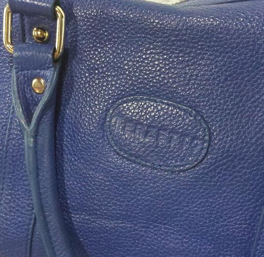 Terzetto Pebbled Leather Satchel in Blue