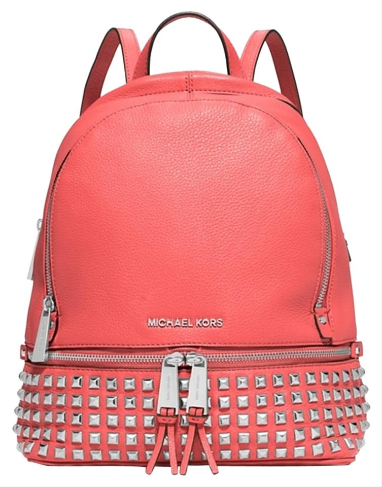 736e44c222677b Michael Kors Small Rhea Zip Studded Coral Leather Backpack - Tradesy