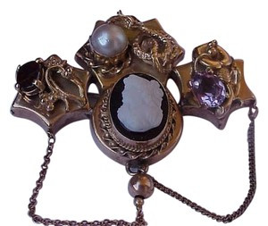 Other Antique Victorian Unique 14k Yellow Gold Amethyst Garnet Pearl Cameo Brooch- Pendant ,late 1800s