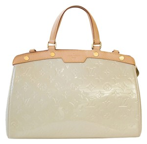 Louis Vuitton Patent Leather Blanc Gold Hardware Corail Monogram Tote in Blanc Corail
