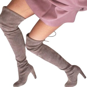 Choies Thigh High Faux Suede Boots Grey Boots