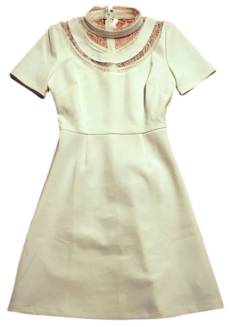 Item - White High Lace Collar Turtleneck Classy Chic A-line Above Knee Formal Dress Size 4 (S)