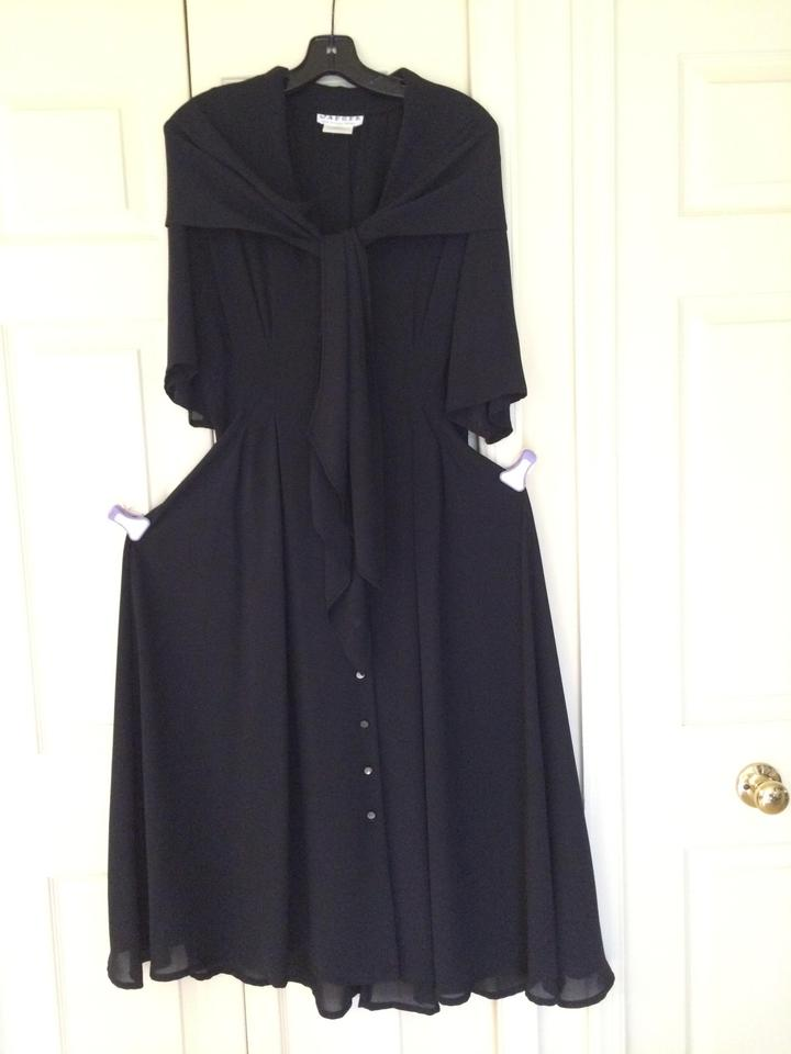 Jaeger Black Evening Wear Mid Length Night Out Dress Size 12 L