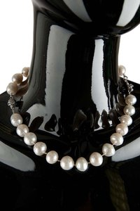 Other Custom Made White Pearl & Diamond Skull Necklace #60357
