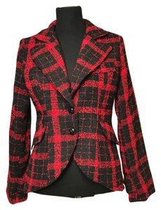 MM Couture Plaid Hi Lo red and black Jacket