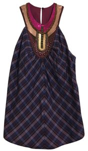 Anthropologie Halter Sequin Studded Plaid Top Multi / Purple