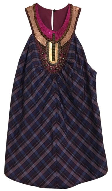 Item - Studded Sequin Plaid Multi / Purple Top