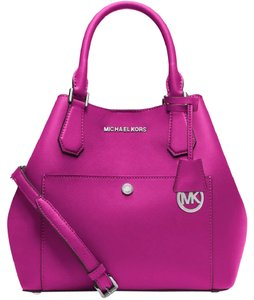 Michael Kors 889154030268 30s5sgrt7u Greenwich Saffiano Large Grab Crossbody Satchel in Fuschia /Luggage
