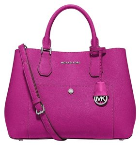 Michael Kors Greenwich Saffiano Leather Tote Handbag Satchel in Fuschia/Luggage