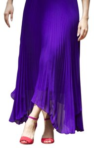 Club Monaco Pleated Long Pleated Maxi Skirt Purple