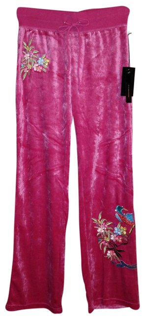 Preload https://img-static.tradesy.com/item/1348352/bcbgmaxazria-pink-deep-rose-velour-embroidered-peacock-large-athletic-pants-size-12-l-32-33-0-0-650-650.jpg