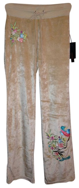 Preload https://item4.tradesy.com/images/bcbgmaxazria-brown-camel-velour-embroidered-peacock-small-athletic-pants-size-6-s-28-1348388-0-0.jpg?width=400&height=650