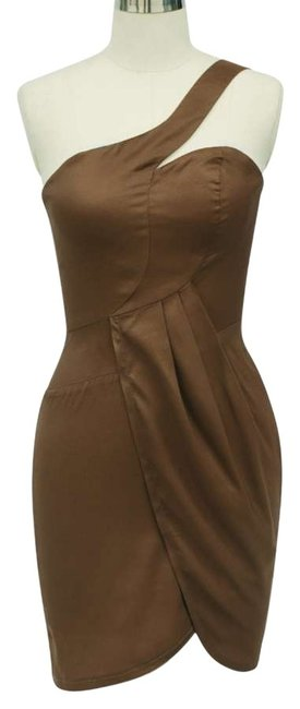 Preload https://item2.tradesy.com/images/brown-asymmetrical-one-shoulder-fashionista-satin-knee-length-cocktail-dress-size-12-l-134841-0-0.jpg?width=400&height=650