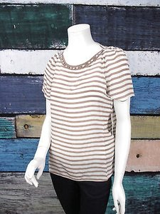 Ella Moss Anthropologie Cara Jewel Neckline Beige Striped 100 Silk S Top White, Silk