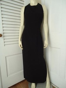 Black Maxi Dress by Donna Morgan Long Polyester Gown Bead Sequin Neckline Sheer