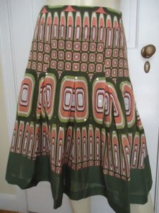 bebe Boho Peasant Sequins Pleated Lined Geometric Gypsy Chic Skirt Multi-Color