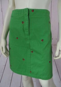 J.Crew Mini Ladybugs Embroidery Pockets So Chic Mini Skirt Green