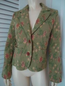 CAbi Cabi Floral Brocade Heavy Rayon Poly Blend Blazer Coat Unlined Lt Green Chic