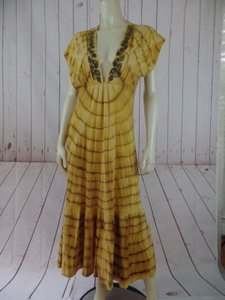 Yellow Brown Maxi Dress by Other Language Anthropologie Cotton Yellow Tie Dye Hippie Boho Embroidery Hot