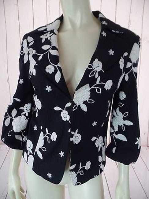 Item - Blazer Black White Floral Embroidery Linen Rayon Blend Lined Chic