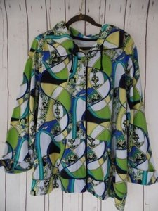 Other Kim Rogers Woman Sweat 2x Cotton Poly Spandex Stretch Knit Baroque Chic White Blues Greens Yellow Jacket