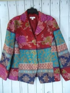 Coldwater Creek Coldwater Creek Blazer Viscose Poly Blend Multicolor Tapestry Floral Cutaway