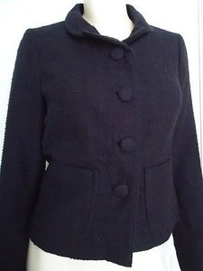 Banana Republic Banana Republic Blazer Jacket Black Cotton Textured Lined Wow