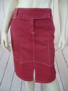 True Meaning Cotton Spandex Stretch Front Slit Pockets Sexy Skirt Pale Red