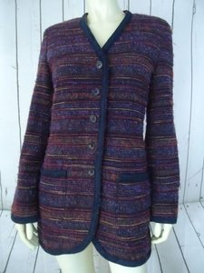 Laura Ashley Laura Ashley Blazer Uk10 Acrylic Wool Nylon Textured Fuzzy Multi-color