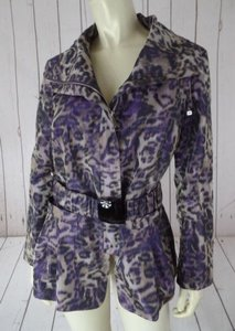 Lafayette 148 New York Coat Poly Leopard Tan Iridescent So Chic Black, Tan, Purple Jacket