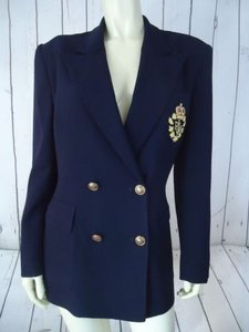 Ralph Lauren Ralph Lauren Blazer Navy Blue Wool Double Breasted Insignia Logo Jacket Chic