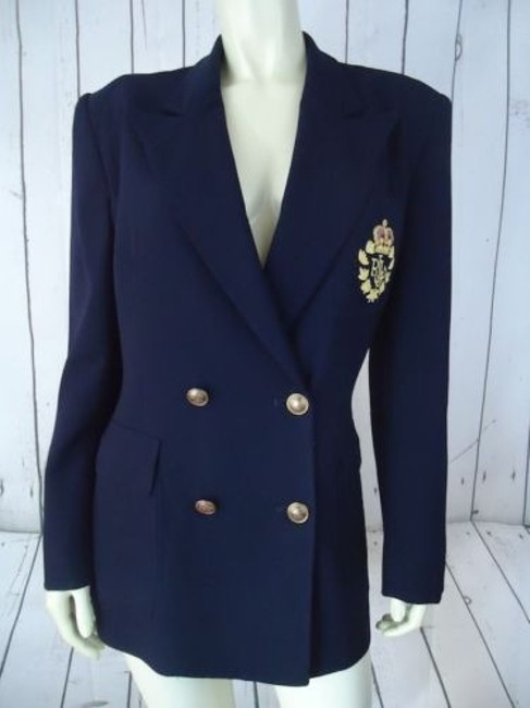 Item - Blazer Navy Blue Wool Double Breasted Insignia Logo Jacket Chic