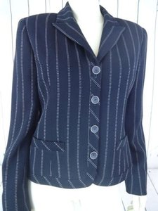Carlisle Carlisle Blazer Black Wool Poly Stretch Broken Pinstripe Pockets Lined Chic