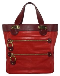 Marc Jacobs Leather Tote in Red - Burgundy