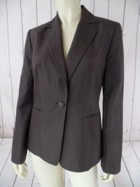 Item - Ann Taylor Loft Blazer Silk Brown Gray Button Front Lined Pockets Classy Chic