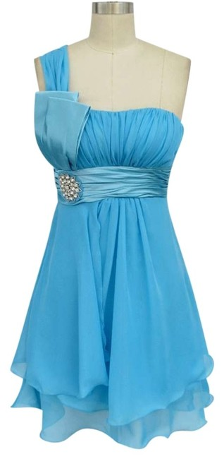 Preload https://img-static.tradesy.com/item/134863/blue-one-shoulder-chiffon-w-rhinestones-ornament-sizexl-knee-length-formal-dress-size-16-xl-plus-0x-0-0-650-650.jpg