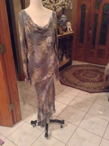 Cameron Blake Silver /Gray 104 Pure Silk Mother Of The Bride 24658 Formal Bridesmaid/Mob Dress Size 10 (M)