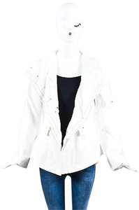 Les Copains Black Drawstring Stand Collar Roll Tab Sleeve Anorak White Jacket