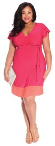 Igigi short dress Fuchsia/Coral Wrap Coral Fushia Flutter Sleeve on Tradesy