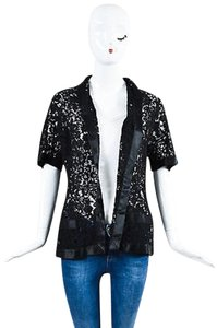 Chanel Vintage Boutique Lace Satin Camellia Pearl Flower Button Black Jacket