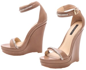 Rachel Zoe Tan/nude/beige With Snakeskin Accent Wedges