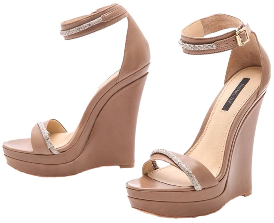 be0330fbfcfe Rachel Zoe Tan Nude Beige with Snakeskin Accent The Katlyn Wedges ...