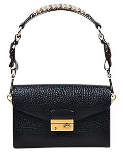 Prada Brown Pebbled Leather Tweed Trim Envelope Sound Line Black Clutch
