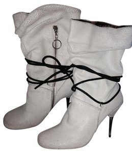 NaNa Leather Metal Metallic Hardware Laces Off White Boots
